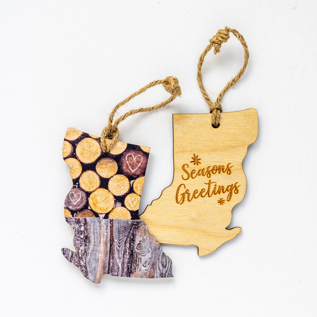 British Columbia Wooden Holiday Ornament <br> Seasons Greetings <br>Rustic Woodpile with Hearts