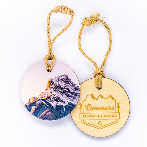 Circle Wooden Holiday Ornament <br> Canmore Alberta <br> Sunrise over Canmore