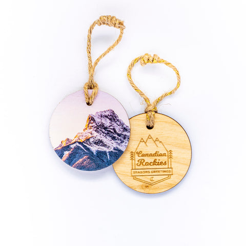 Circle Wooden Holiday Ornament <br> Canadian Rockies <br>Canmore Winter Sunrise