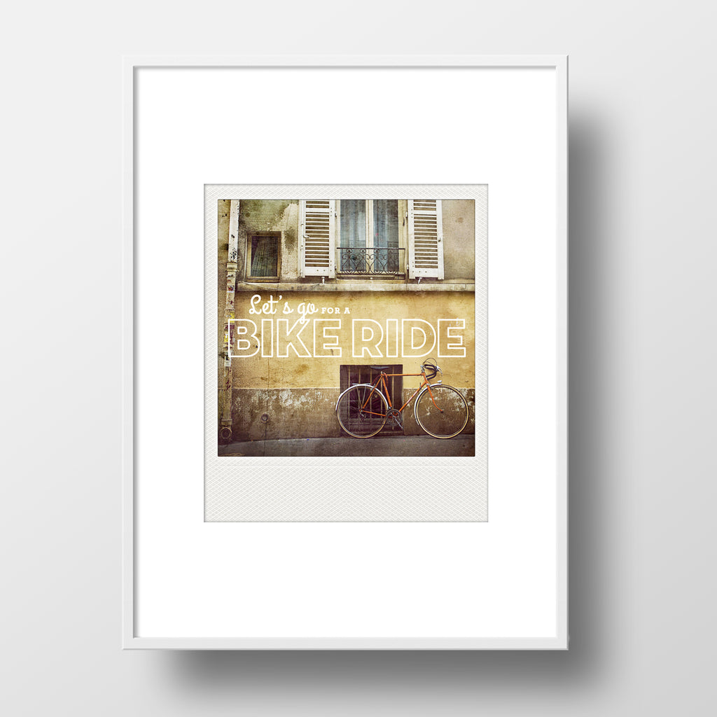 SALE<br> Metallic Polaroid Magnet <br>Let's Go For A Bike Ride <br>Paris Bicycle