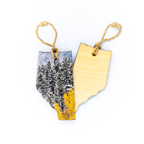 Alberta Wooden Holiday Ornament <br> Blank Back <br> Snowy Aspens