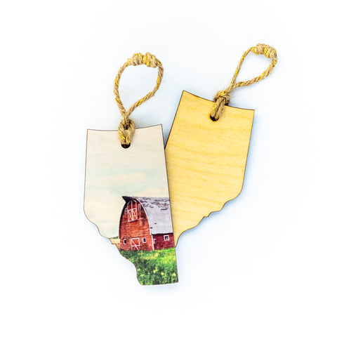 Alberta Wooden Holiday Ornament <br> Blank Back <br> Red Barn