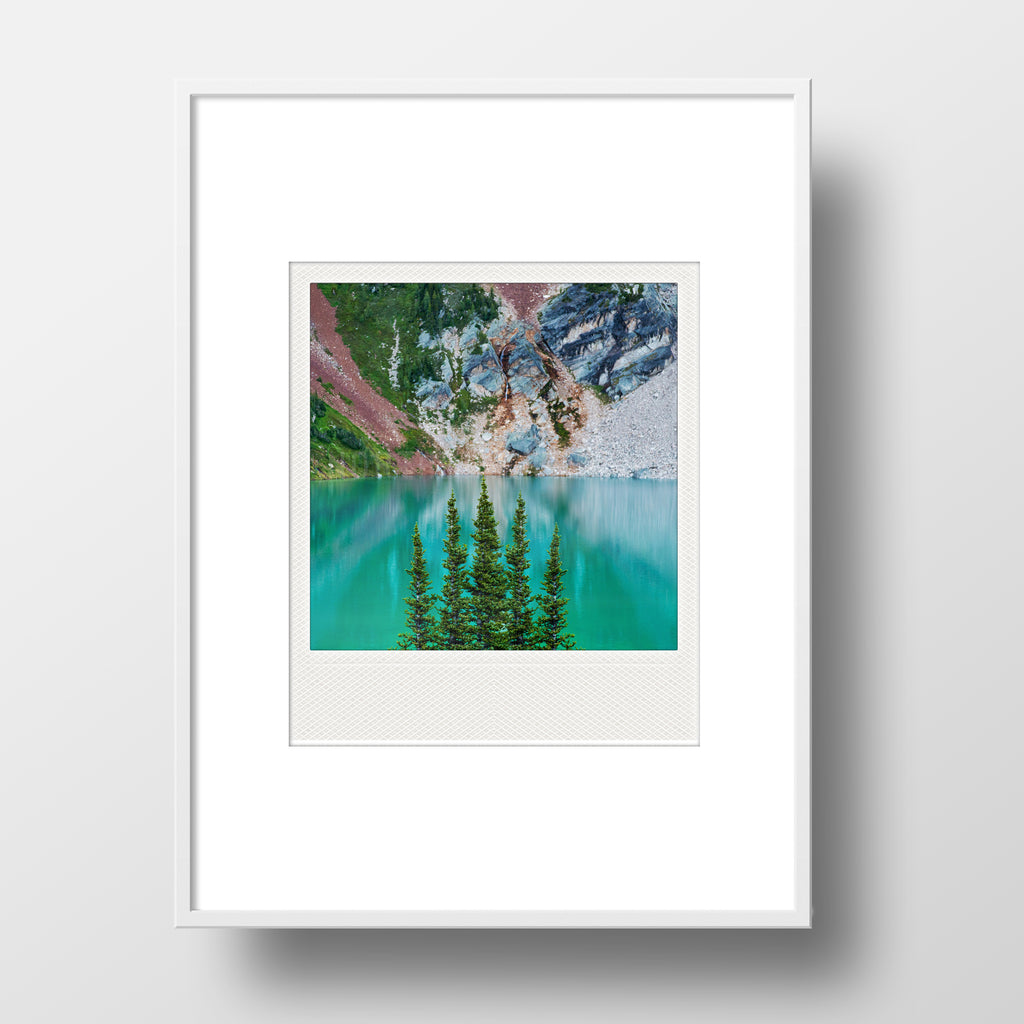 Metallic Polaroid Magnet <br>Surreal Blue Lake <br> British Columbia