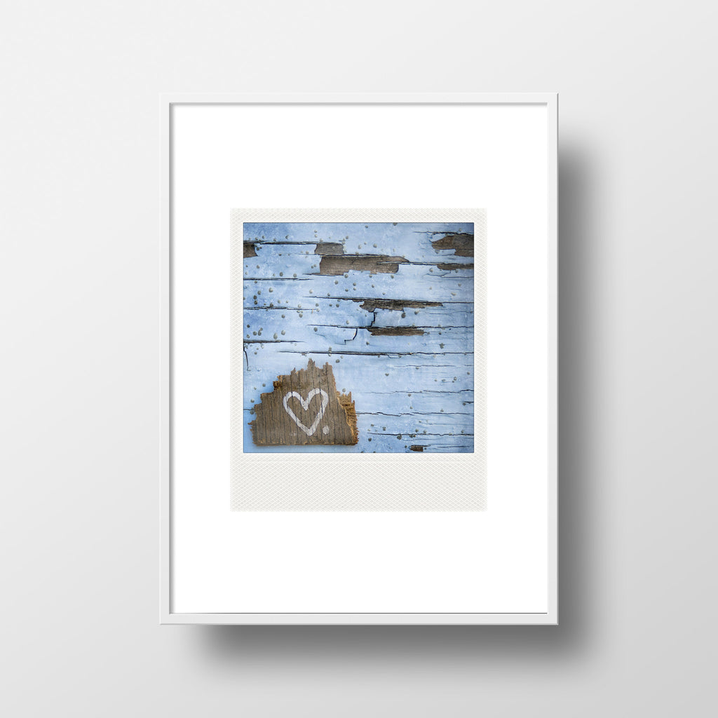 CLEARANCE Polaroid Magnet <br>Heart on Blue Wall <br> Metallic Finish