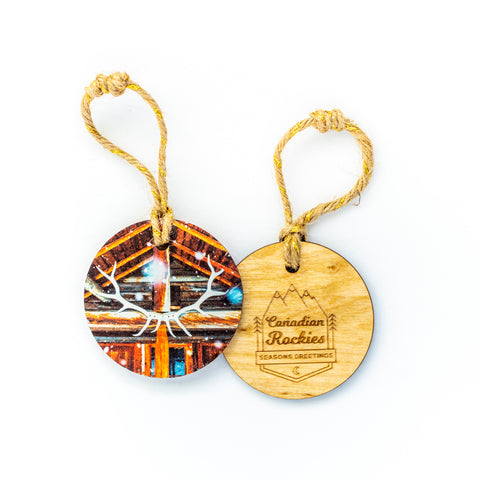 Circle Wooden Holiday Ornament <br> Canadian Rockies <br>Backcountry Cabin in Banff