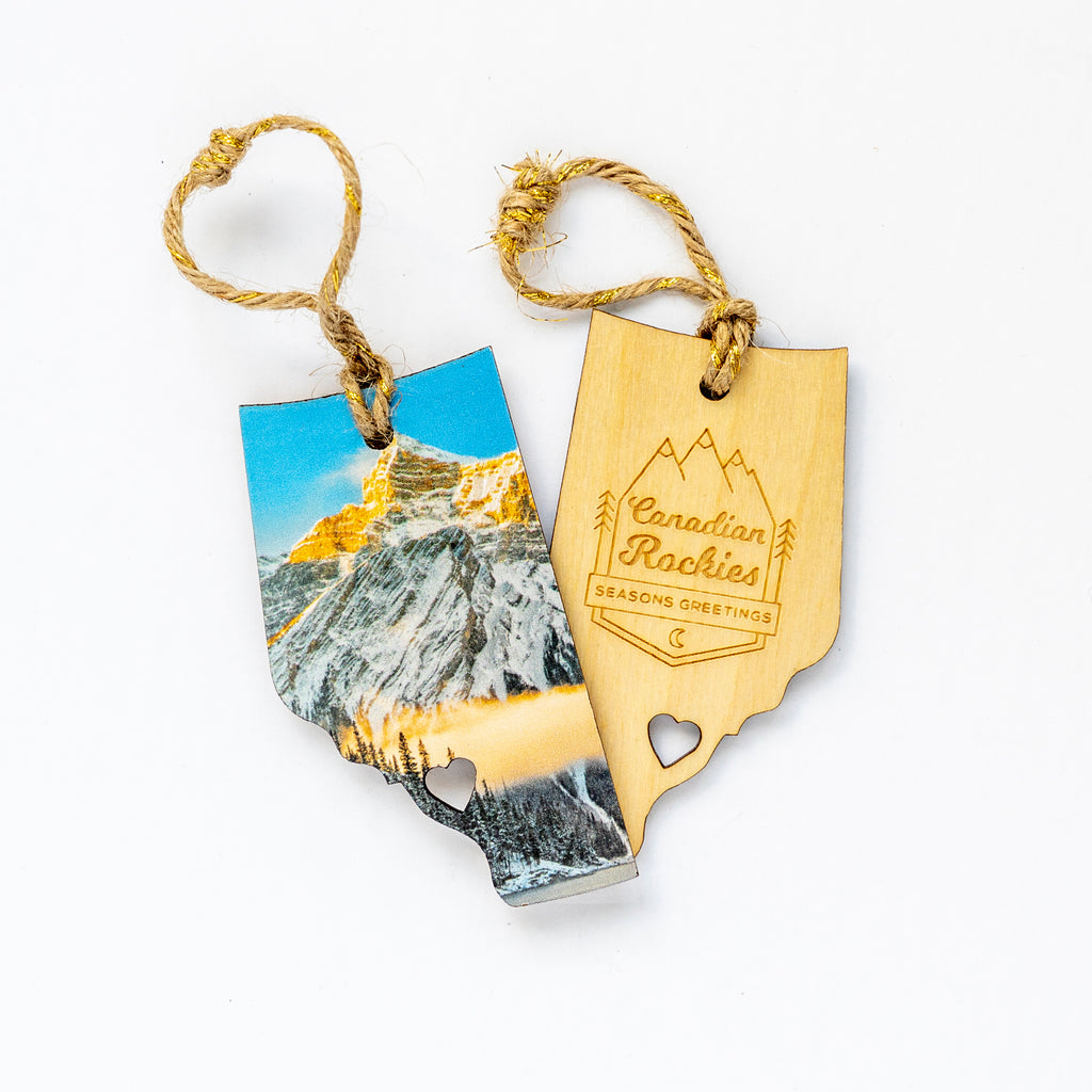 Alberta Wooden Holiday Ornament <br> Seasons Greetings Canadian Rockies <br> Winter Sunrise