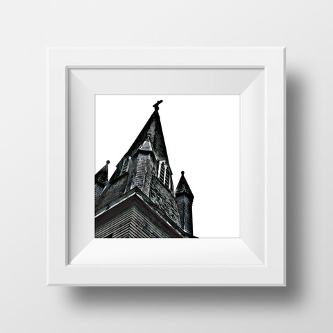 "Discontinued 5x5"" Print <br>Antique Church Steeple<br>Matte Finish"