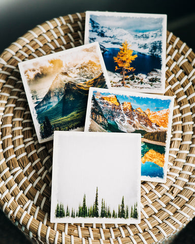 DAY 1! <br>Set of 4 Alberta Made Birch Wood Coasters <br> Canadian Rockies Themed
