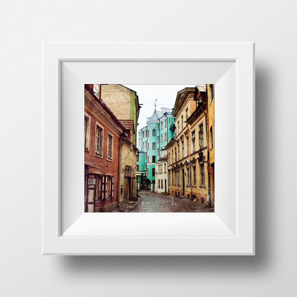 SALE Print <br>Cobblestone Street Estonia<br> Metallic Finish + Various Sizes
