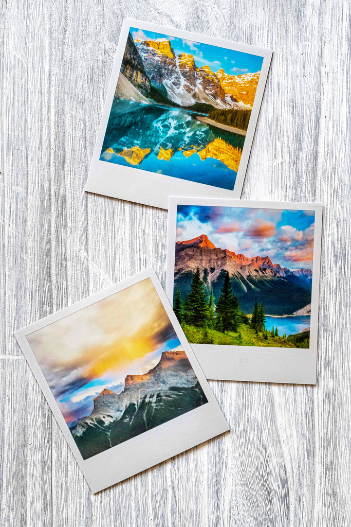 3-Pack of Metallic Polaroid Magnets <br> Canadian Rockies