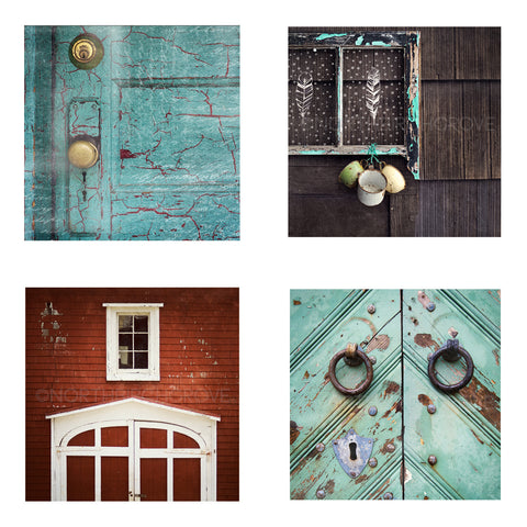 Metallic Mini Magnet Set of 4 <br> Vintage Door Details