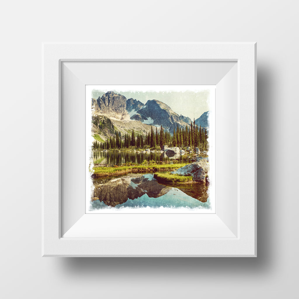 "SALE 5x5"" Fine Art Print <br>Drinnon Lake British Columbia<br> Metallic Finish"