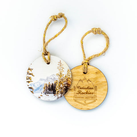 Circle Wooden Holiday Ornament <br> Canadian Rockies <br> Canmore Winter Sunrise