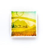 "Ranch Post with Elk at Sunset <br>Birch Wood Photo Coaster <br> 4x4"" Matte Finish"