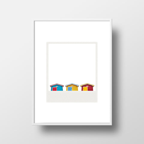 CLEARANCE <br>Metallic Polaroid Magnet <br>Three Fishing Huts in Newfoundland
