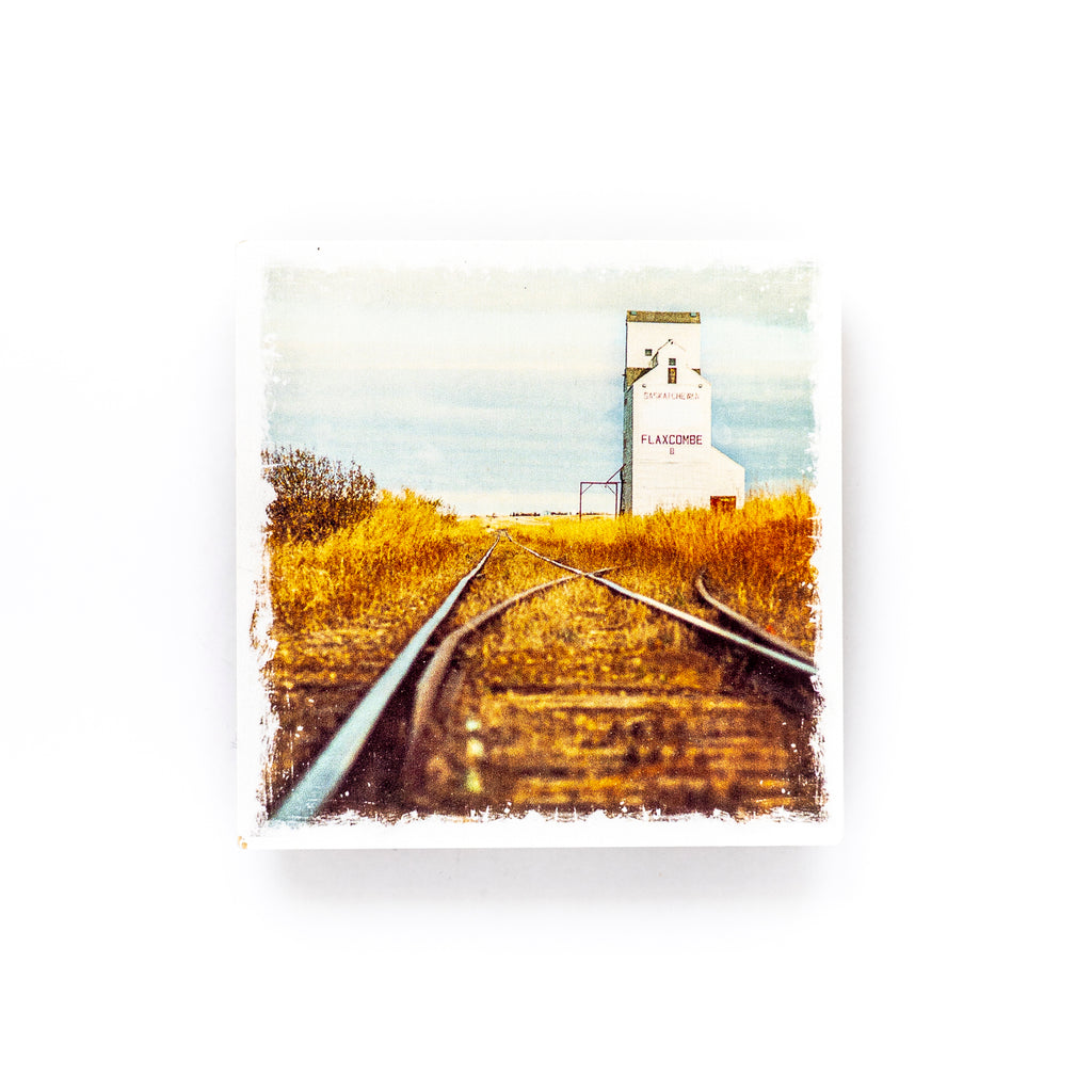 "Grain Elevator Flaxcombe Saskatchewan <br>Birch Wood Photo Coaster <br> 4x4"" Matte Finish"