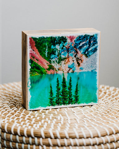 "Glacial Blue Lake <br> 5x5"" Signature Glossy Art Block  <br> Rustic Barn Wood Edges"