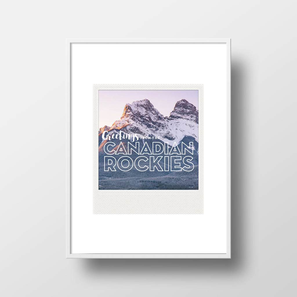 Metallic Polaroid Magnet <br> Greetings from the Canadian Rockies <br> Canmore