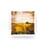 "Hay Bales & Farm <br>Birch Wood Photo Coaster <br> 4x4"" Matte Finish"