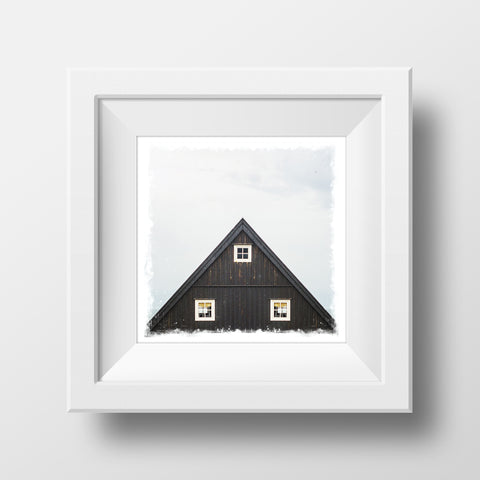 "CLEARANCE 5x5"" Fine Art Print <br>Icelandic Cabin<br> Metallic Finish"