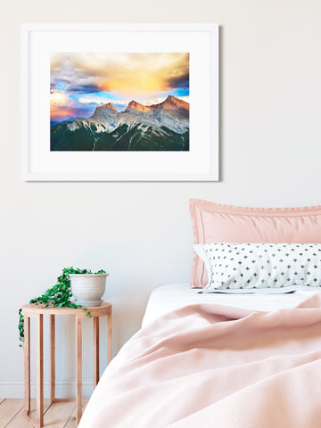 "SPECIAL PRINTING for Ikea Frames! <br>Three Sisters Mountains Canmore <br> 12x15"" Limited Edition Metallic Print"