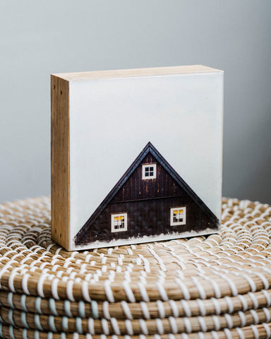 "CLEARANCE Iceland Cabin<br> AS IS 5x5"" Signature Glossy Art Block  <br> Rustic Barn Wood Edges"