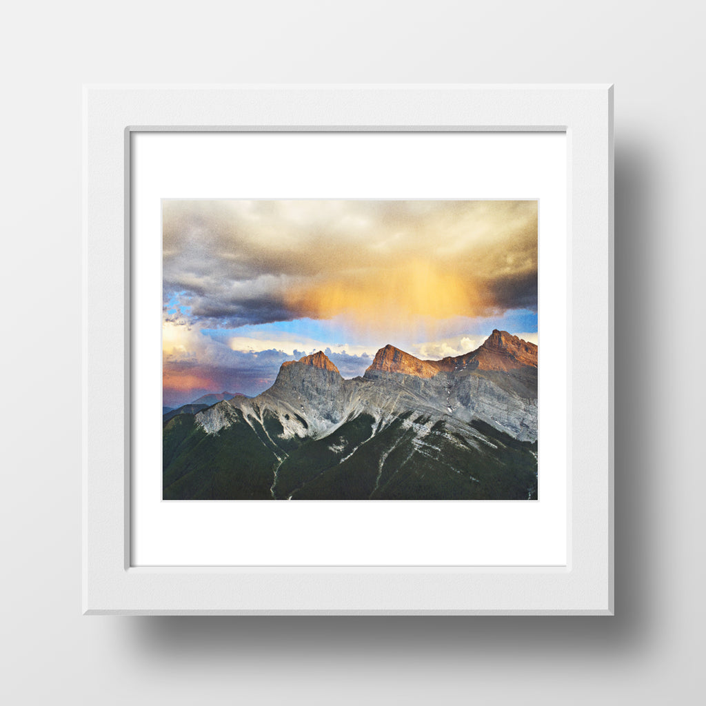 "12x12"" SALE Metallic Print <br>Three Sisters Mountains <br>  Canmore Alberta"