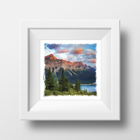"CLEARANCE 5x5"" Fine Art Print <br>Kananaskis Canadian Rockies Sunrise<br> Metallic Finish"