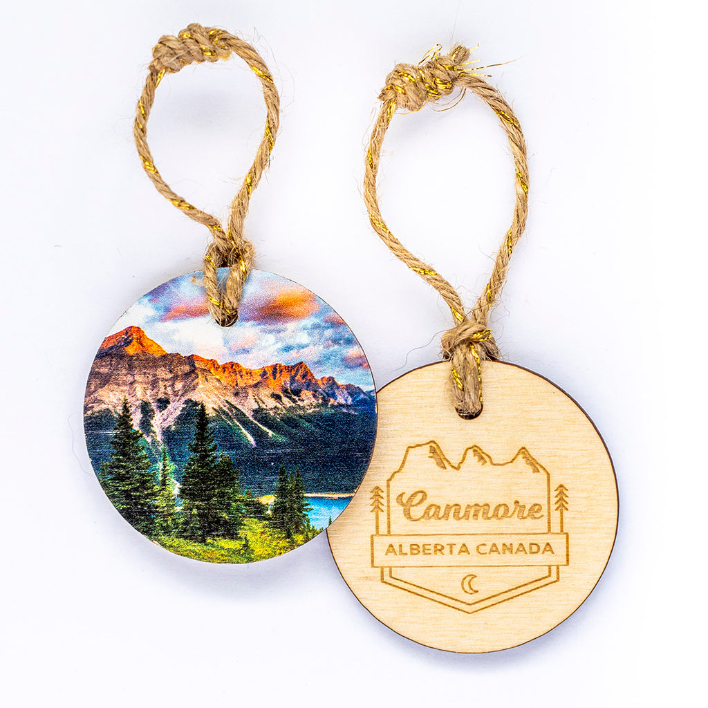 Circle Wooden Holiday Ornament <br> Canmore Alberta <br> Sunrise Over Spray Lakes Kananaskis