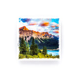 "Sunrise in Kananaskis Country Canadian Rockies <br>Birch Wood Photo Coaster <br> 4x4"" Matte Finish"
