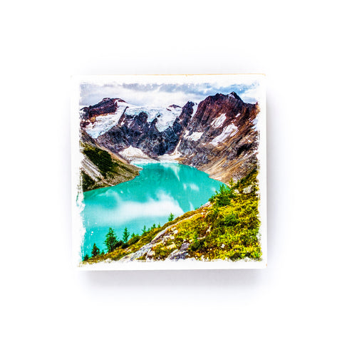 "Glacial Lake in British Columbia<br>Birch Wood Photo Coaster <br> 4x4"" Matte Finish"