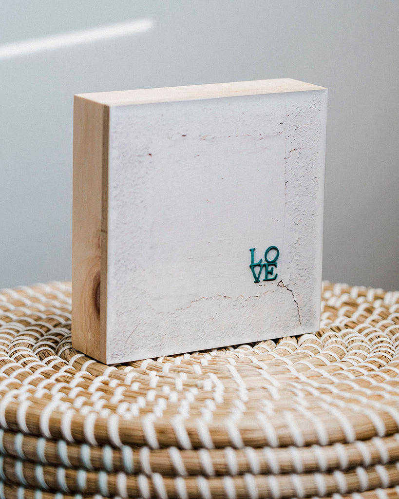 "CLEARANCE LOVE<br> 5x5"" Signature Glossy Art Block  <br> Pine Wood Edges"