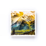 "Mount Temple and the Larch Valley Lake Louise Banff National Park<br>Birch Wood Photo Coaster <br> 4x4"" Matte Finish"