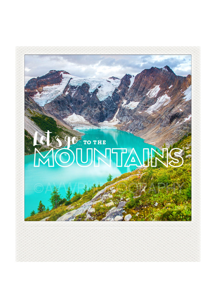 Metallic Polaroid Magnet <br>Let's Go to the Mountains // Alpine Lake