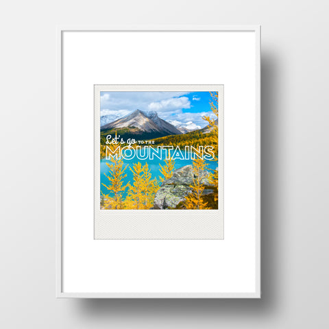 SALE<br> Metallic Polaroid Magnet <br>Let's Go To The Mountains <br>Morning Light Banff N.P