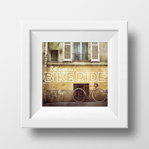"SALE 5x5"" Print<br> Let's Go For A Bike Ride <br>Metallic Finish"
