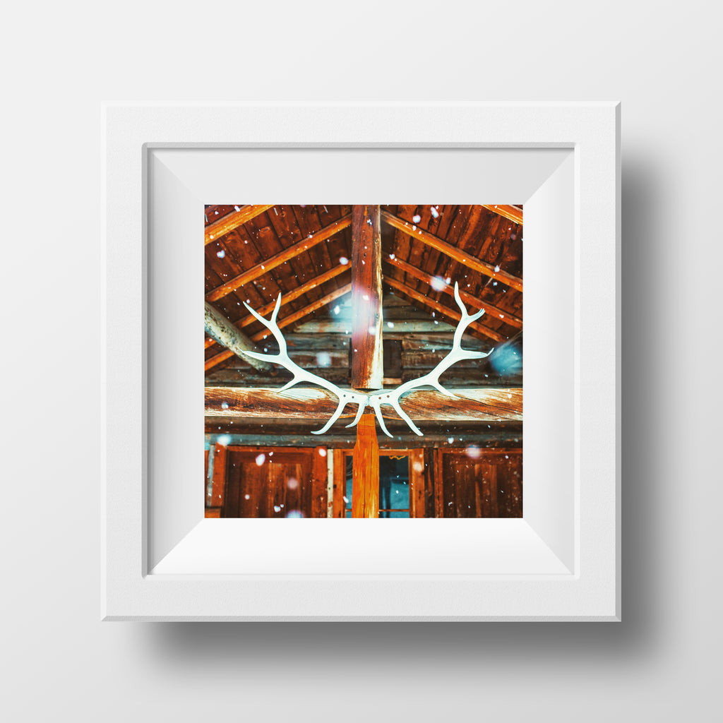 "CLEARANCE 5x5"" Print <br>Banff Backcountry Lodge<br> Metallic Finish"