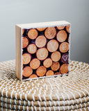 "CLEARANCE Woodpile with LOVE<br> 5x5"" Signature Glossy Art Block  <br> Pine Wood Edges"