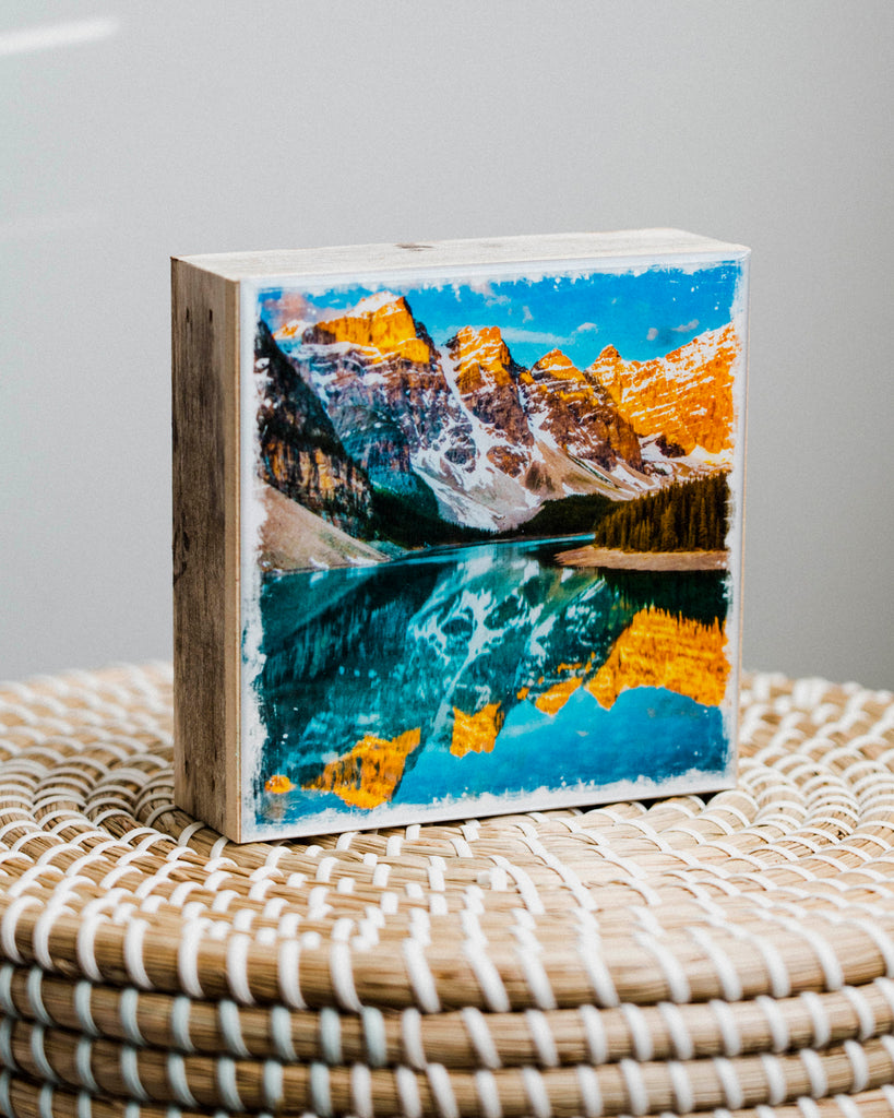 "Moraine Lake Sunrise <br> 5x5"" Signature Glossy Art Block  <br> Rustic Barn Wood Edges"