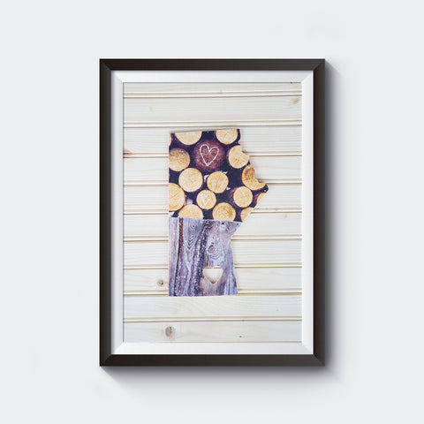 CLEARANCE <br>Manitoba Province<br> Hearts + Woodpile <br>Photo on Birch Wood Panel <br>