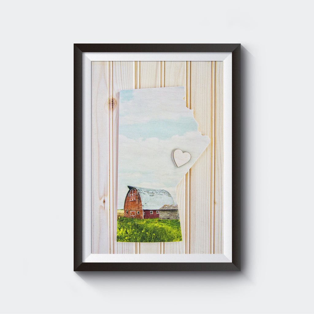 CLEARANCE <br>Manitoba Province<br> Red Barn w moveable Wooden Heart<br>Photo on Birch Wood Panel <br>