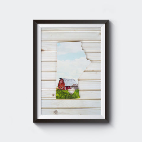 CLEARANCE <br>Manitoba Province<br> Red Barn <br>Photo on Birch Wood Panel <br>