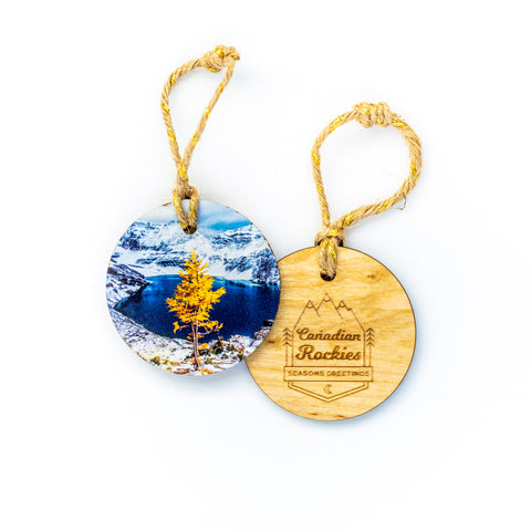 Circle Wooden Holiday Ornament <br> Canadian Rockies <br> Larch Tree in
