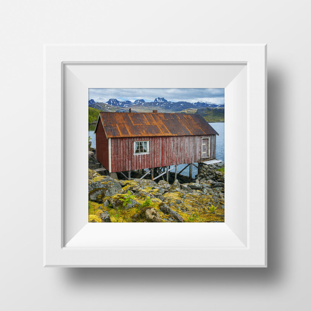 CLEARANCE Print <br>Norway Fishing Hut<br> Metallic Finish + Various Sizes