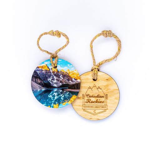 Circle Wooden Holiday Ornament <br> Canadian Rockies <br> Moraine Lake Banff