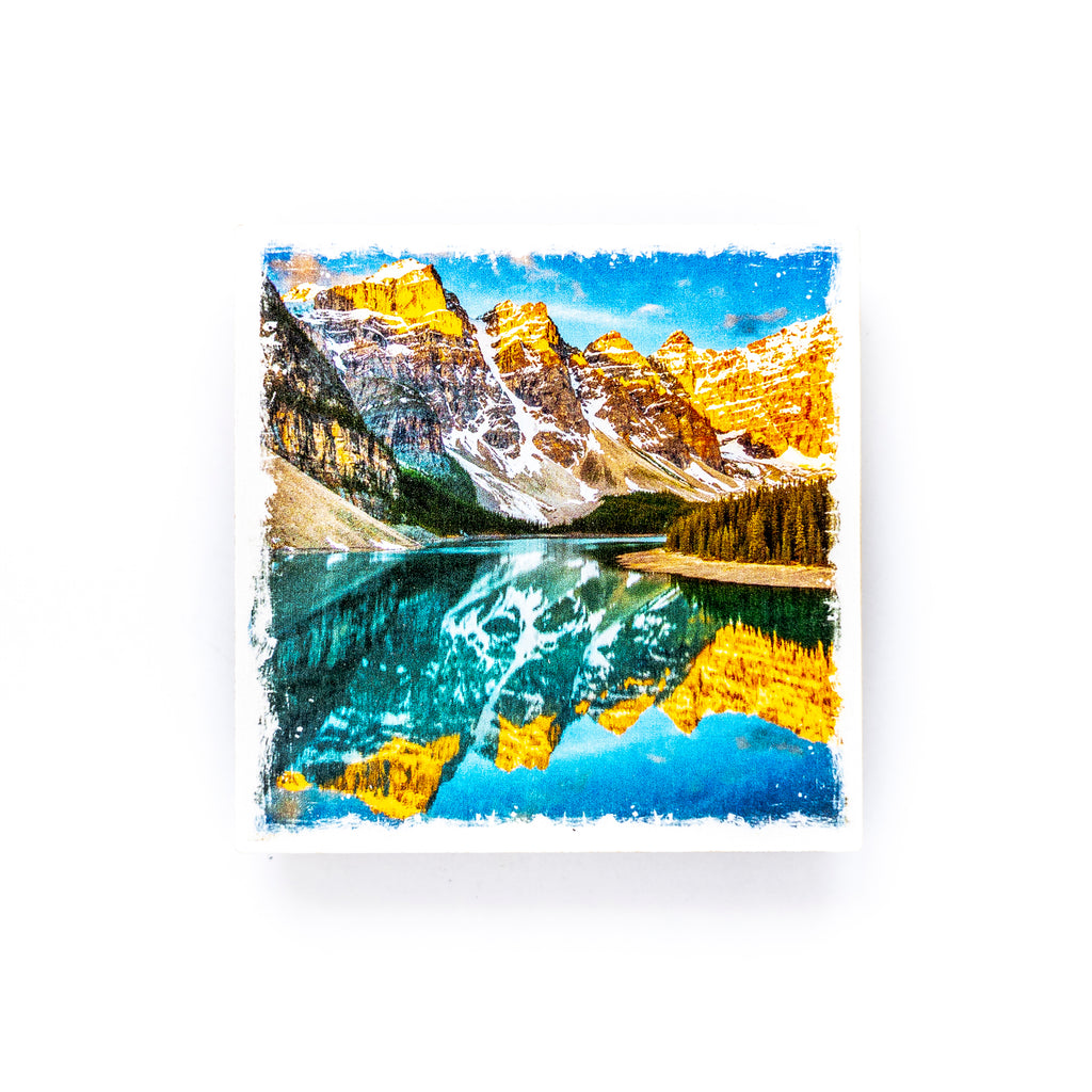 "Moraine Lake Banff National Park <br>Birch Wood Photo Coaster <br> 4x4"" Matte Finish"