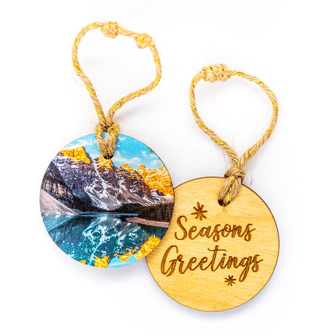 Circle Wooden Holiday Ornament <br> Seasons Greetings <br>Moraine Lake