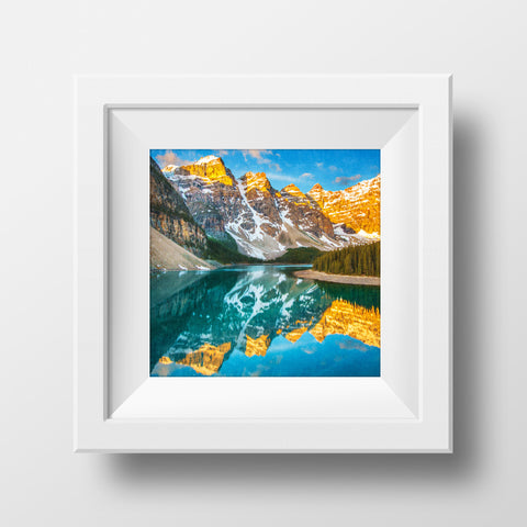 "SALE 8x8"" Metallic Print <br>Moraine Lake Spring Sunrise Banff National Park"