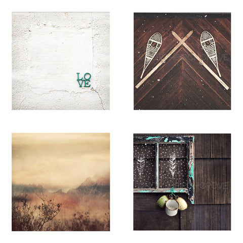 Metallic Mini Magnet Set of 4 <br> Rustic Mountain Moments
