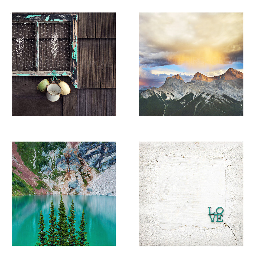 Metallic Mini Magnet Set of 4 <br> Rustic Mountain Moments No. 2